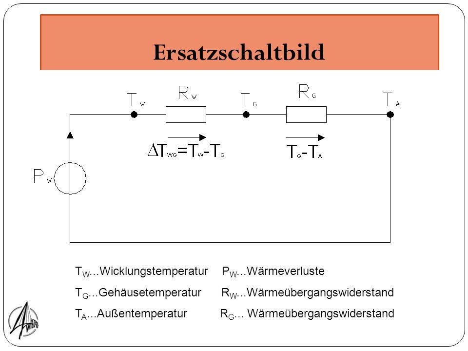 Ersatzschaltbild T W...Wicklungstemperatur P W...Wärmeverluste T G...Gehäusetemperatur R W...Wärmeübergangswiderstand T A...Außentemperatur R G... Wär