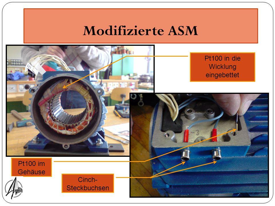 Modifizierte ASM Pt100 in die Wicklung eingebettet Pt100 im Gehäuse Cinch- Steckbuchsen