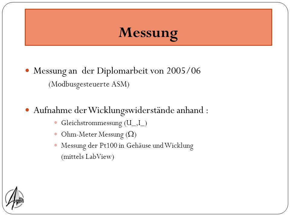 Messung Messung an der Diplomarbeit von 2005/06 (Modbusgesteuerte ASM) Aufnahme der Wicklungswiderstände anhand : Gleichstrommessung (U_,I_) Ohm-Meter