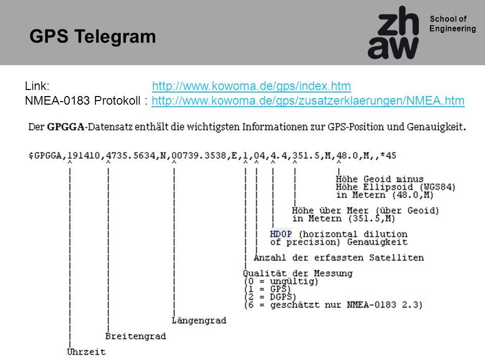 School of Engineering GPS Telegram Link: http://www.kowoma.de/gps/index.htmhttp://www.kowoma.de/gps/index.htm NMEA-0183 Protokoll : http://www.kowoma.de/gps/zusatzerklaerungen/NMEA.htmhttp://www.kowoma.de/gps/zusatzerklaerungen/NMEA.htm