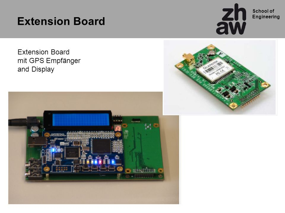 School of Engineering Extension Board mit GPS Empfänger and Display