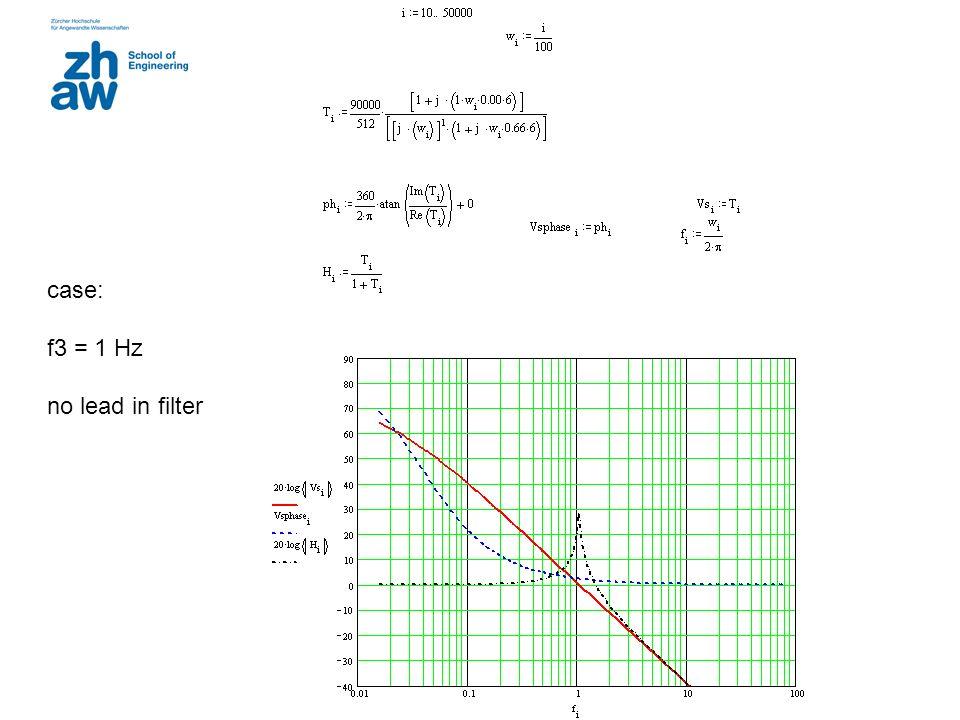 case: f3 = 1 Hz no lead in filter