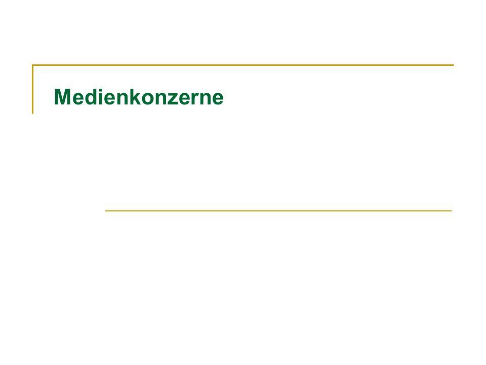 Medienkonzerne Deutschland Axel Springer Gesellschaft für Publizistik (Friede Springer) Axel Springer Verlag AG, Zeitungen und Zeitschriften; Bild, Die Welt (line extensions); Hör zu; Handels-Zeitung, Stocks (CH); Cora-Verlag Beteiligung (13.5%) an Pro Sieben SAT.1 Media AG (SAT.1, PRO Sieben, N24, Kabel 1)