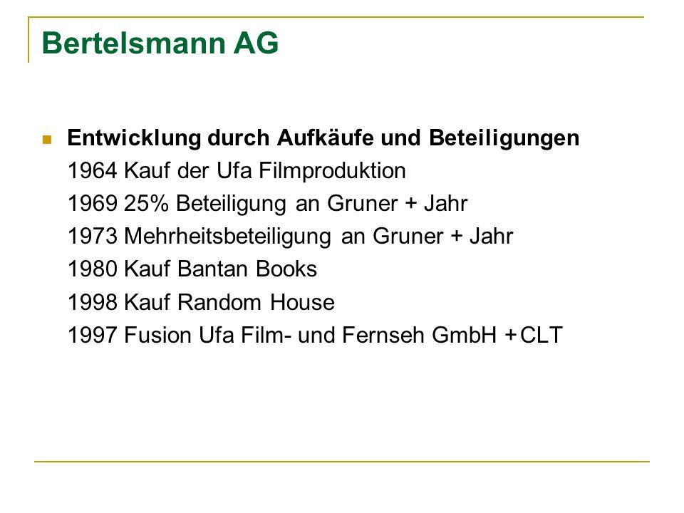 Bertelsmann AG Entwicklung durch Aufkäufe und Beteiligungen 1964 Kauf der Ufa Filmproduktion 1969 25% Beteiligung an Gruner + Jahr 1973 Mehrheitsbetei