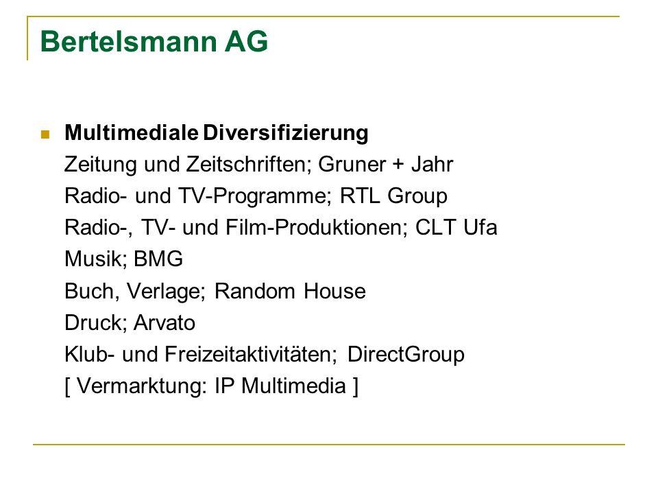 Bertelsmann AG Multimediale Diversifizierung Zeitung und Zeitschriften; Gruner + Jahr Radio- und TV-Programme; RTL Group Radio-, TV- und Film-Produkti