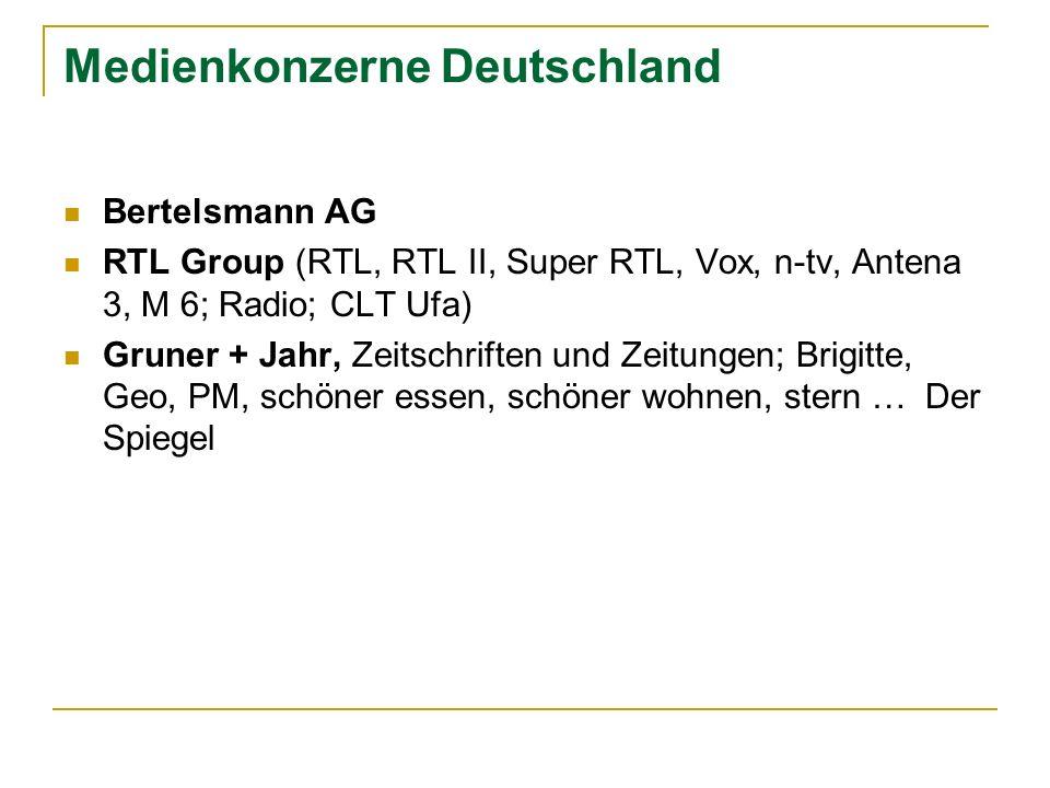 Medienkonzerne Deutschland Bertelsmann AG RTL Group (RTL, RTL II, Super RTL, Vox, n-tv, Antena 3, M 6; Radio; CLT Ufa) Gruner + Jahr, Zeitschriften un