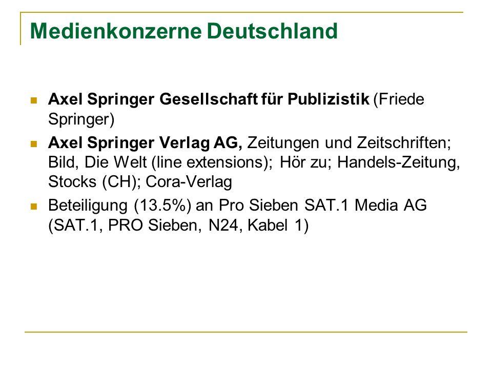 Medienkonzerne Deutschland Axel Springer Gesellschaft für Publizistik (Friede Springer) Axel Springer Verlag AG, Zeitungen und Zeitschriften; Bild, Di