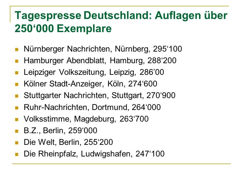 Tagespresse Deutschland: Auflagen über 250000 Exemplare Nürnberger Nachrichten, Nürnberg, 295100 Hamburger Abendblatt, Hamburg, 288200 Leipziger Volks