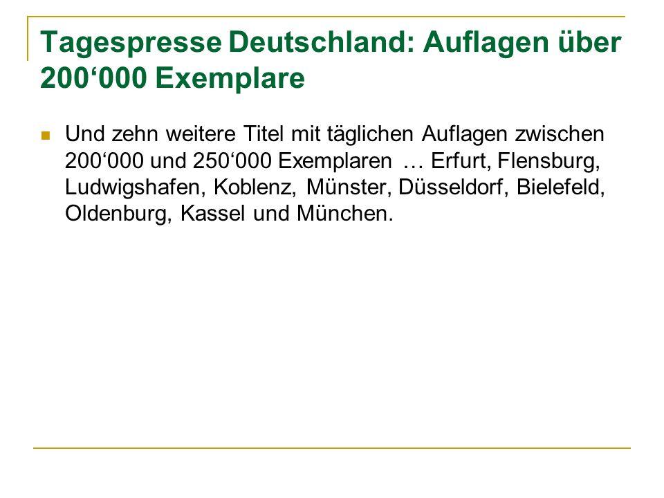 Tagespresse Deutschland: Auflagen über 200000 Exemplare Und zehn weitere Titel mit täglichen Auflagen zwischen 200000 und 250000 Exemplaren … Erfurt,
