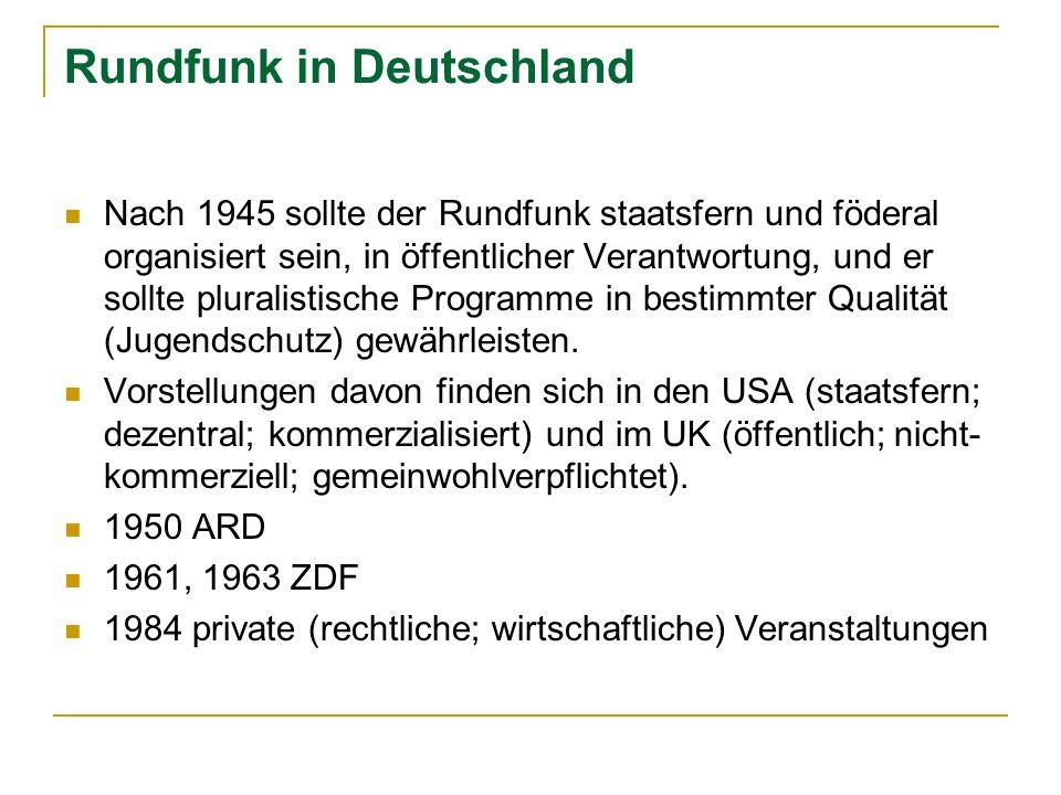 Rundfunk in Deutschland Nach 1945 sollte der Rundfunk staatsfern und föderal organisiert sein, in öffentlicher Verantwortung, und er sollte pluralisti