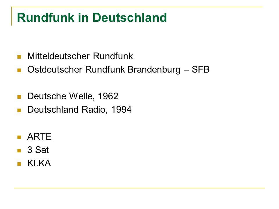 Rundfunk in Deutschland Mitteldeutscher Rundfunk Ostdeutscher Rundfunk Brandenburg – SFB Deutsche Welle, 1962 Deutschland Radio, 1994 ARTE 3 Sat KI.KA