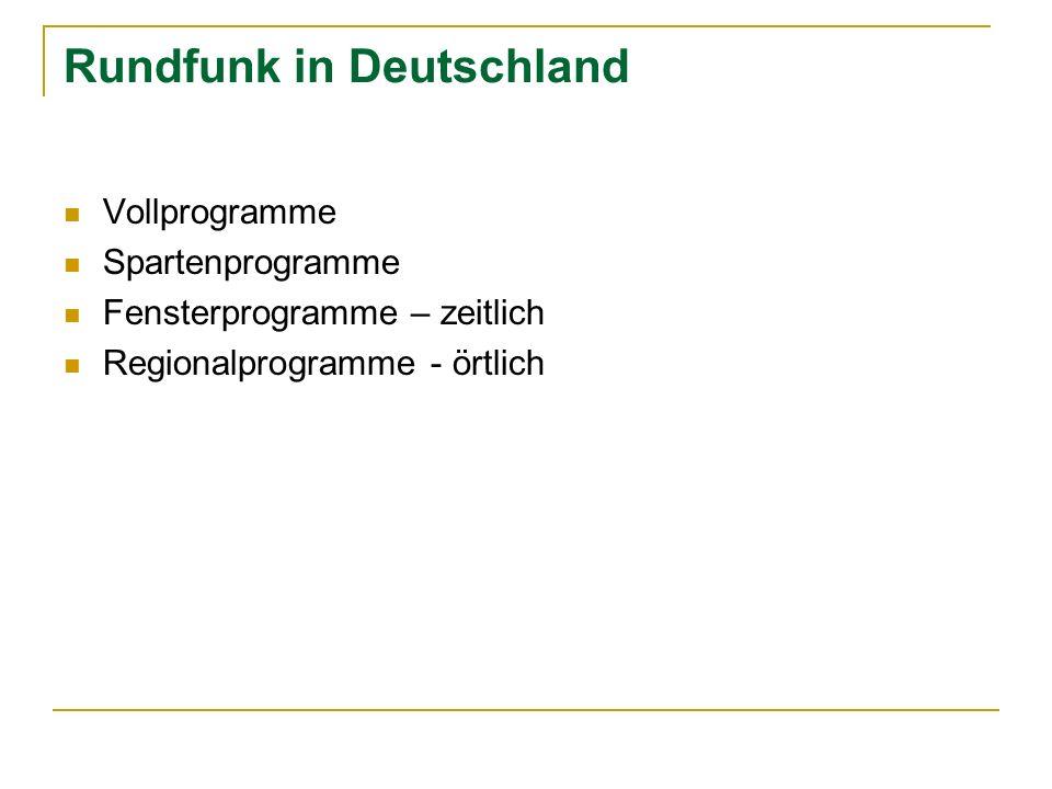 Rundfunk in Deutschland Vollprogramme Spartenprogramme Fensterprogramme – zeitlich Regionalprogramme - örtlich