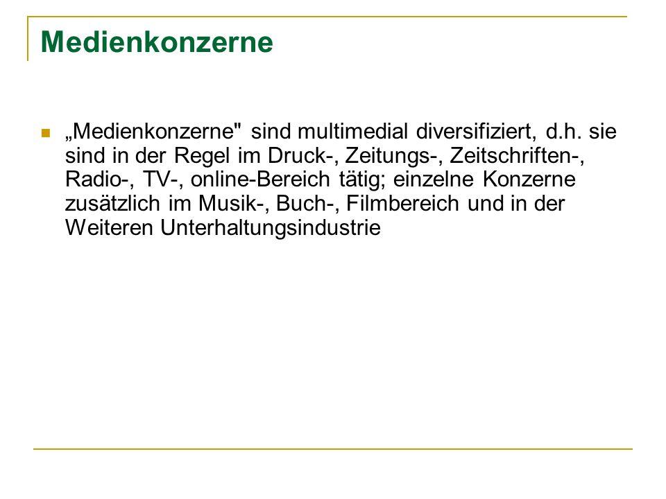 Medienkonzerne Deutschland Westdeutsche Allgemeine Zeitungsverlags- gesellschaft (Familien Brost und Funke) Zeitungen und Zeitschriften; WAZ; Mediaprint (A); Gong Verlag Beteiligung an RTL-Group; Radio-Beteiligungen