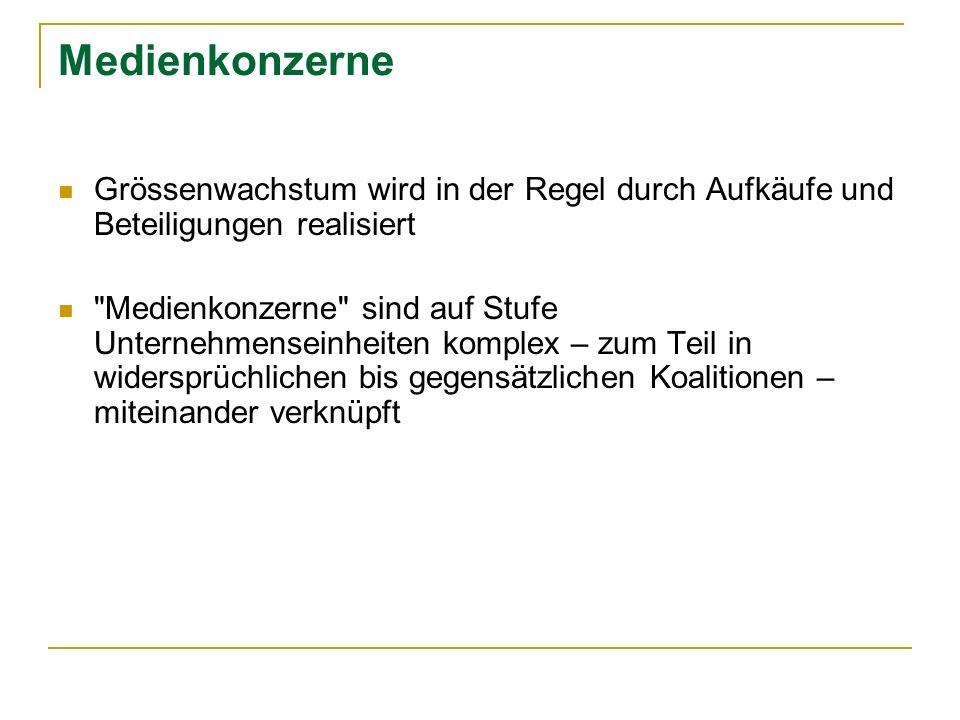 Tagespresse Deutschland: Die 10 grössten Verlagsgruppen 2002 Axel Springer Verlag AG (MA: 23.4%) Verlagsgruppe WAZ (MA 6.1%) Verlagsgruppe Stuttgarter Zeitung … (MA: 4.9%) Verlagsgruppe M.