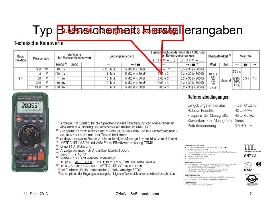 11. Sept. 2013ZHaW - SoE - bauf/spma 12 Typ B Unsicherheit: Herstellerangaben 0.05%v.M. + 3 Digits (3 x Auflösung)