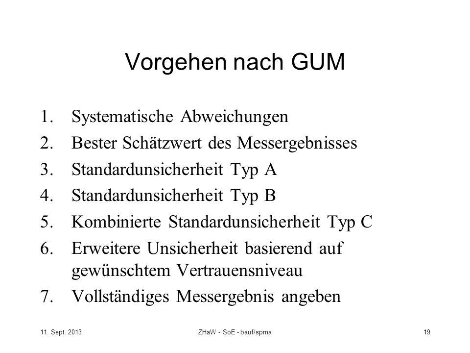 11. Sept. 2013ZHaW - SoE - bauf/spma 19 Vorgehen nach GUM 1.Systematische Abweichungen 2.Bester Schätzwert des Messergebnisses 3.Standardunsicherheit