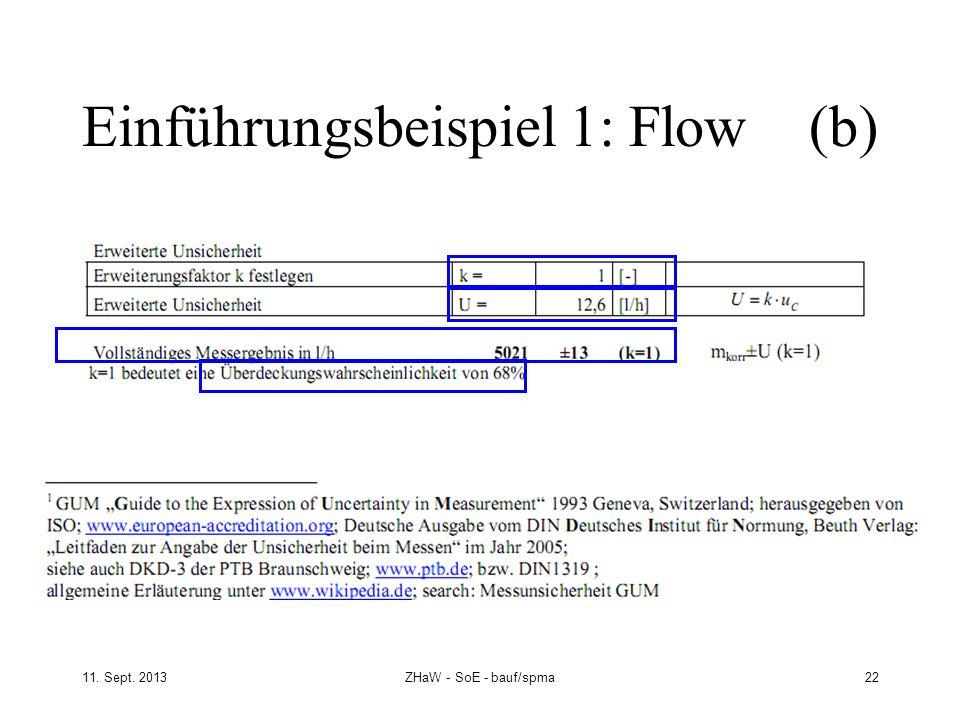 11. Sept. 2013ZHaW - SoE - bauf/spma 22 Einführungsbeispiel 1: Flow (b)