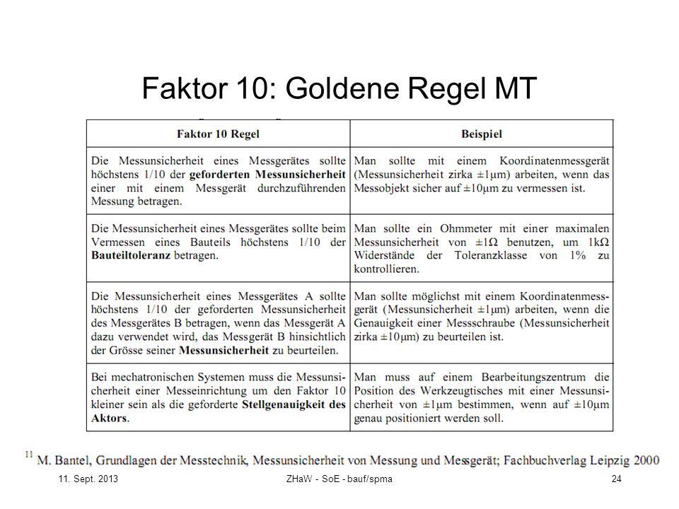 11. Sept. 2013ZHaW - SoE - bauf/spma 24 Faktor 10: Goldene Regel MT
