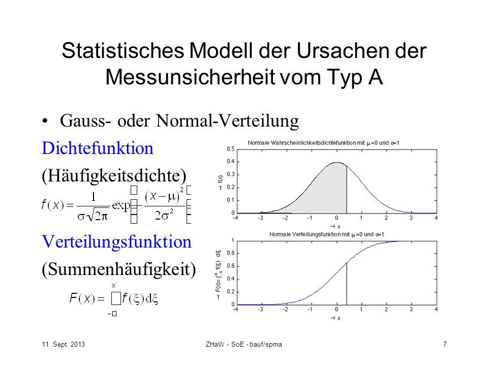 11. Sept. 2013ZHaW - SoE - bauf/spma 7 Statistisches Modell der Ursachen der Messunsicherheit vom Typ A Gauss- oder Normal-Verteilung Dichtefunktion (