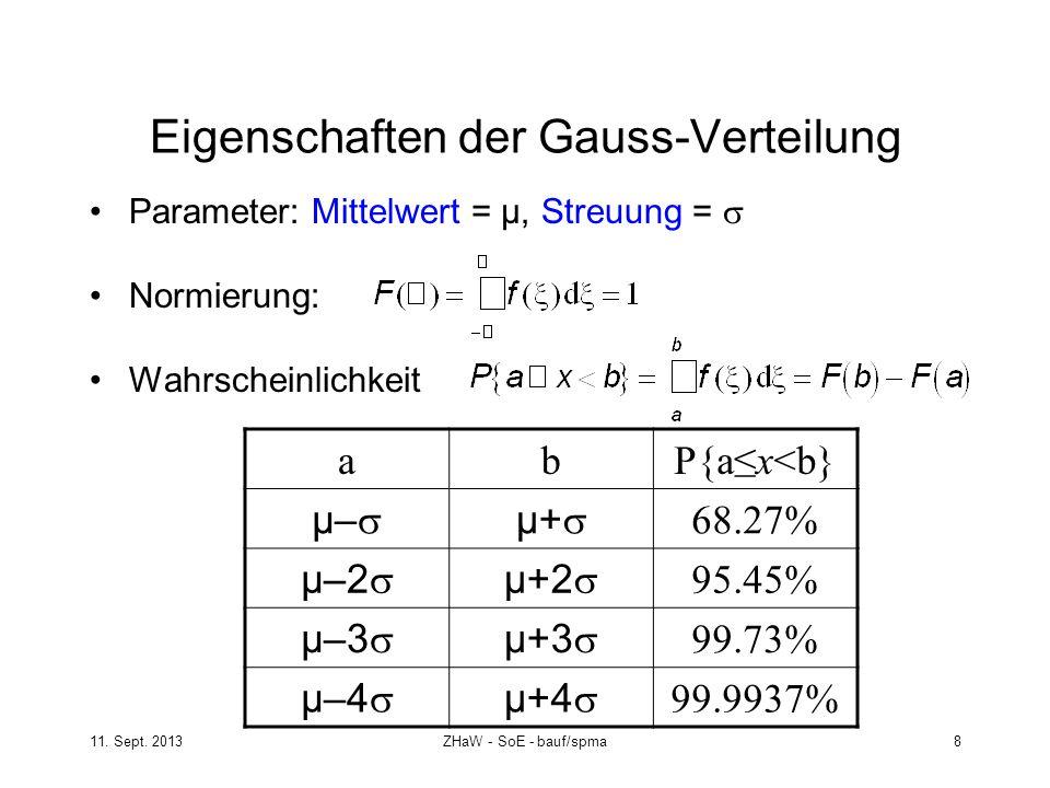 11. Sept. 2013ZHaW - SoE - bauf/spma 8 Eigenschaften der Gauss-Verteilung Parameter: Mittelwert = µ, Streuung = Normierung: Wahrscheinlichkeit abP{ax<