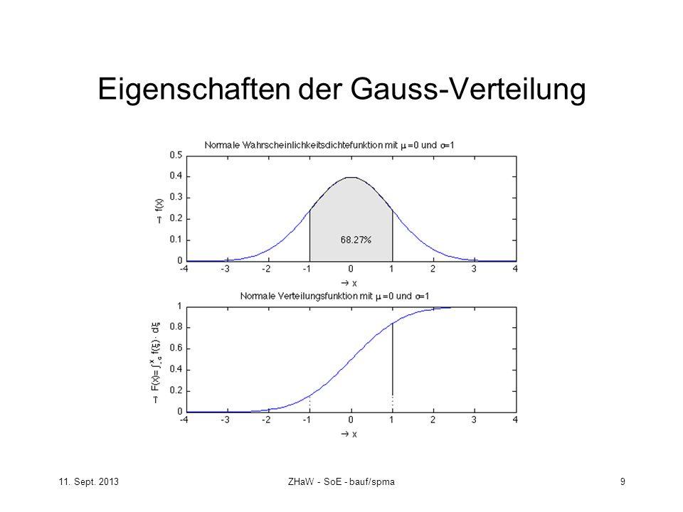 11. Sept. 2013ZHaW - SoE - bauf/spma 9 Eigenschaften der Gauss-Verteilung