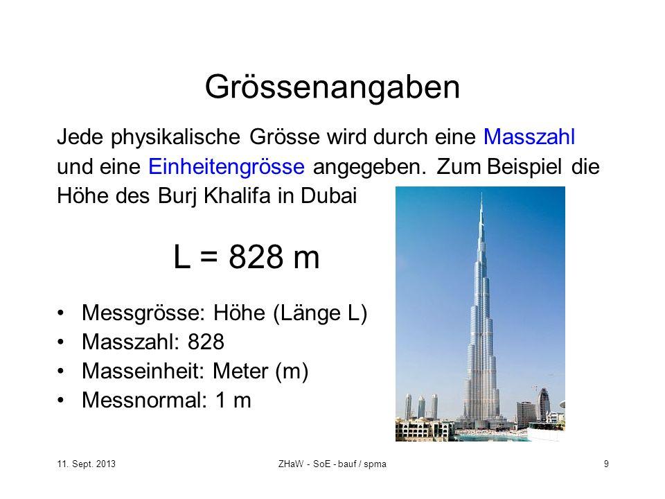 11. Sept. 2013ZHaW - SoE - bauf / spma 9 Grössenangaben Jede physikalische Grösse wird durch eine Masszahl und eine Einheitengrösse angegeben. Zum Bei