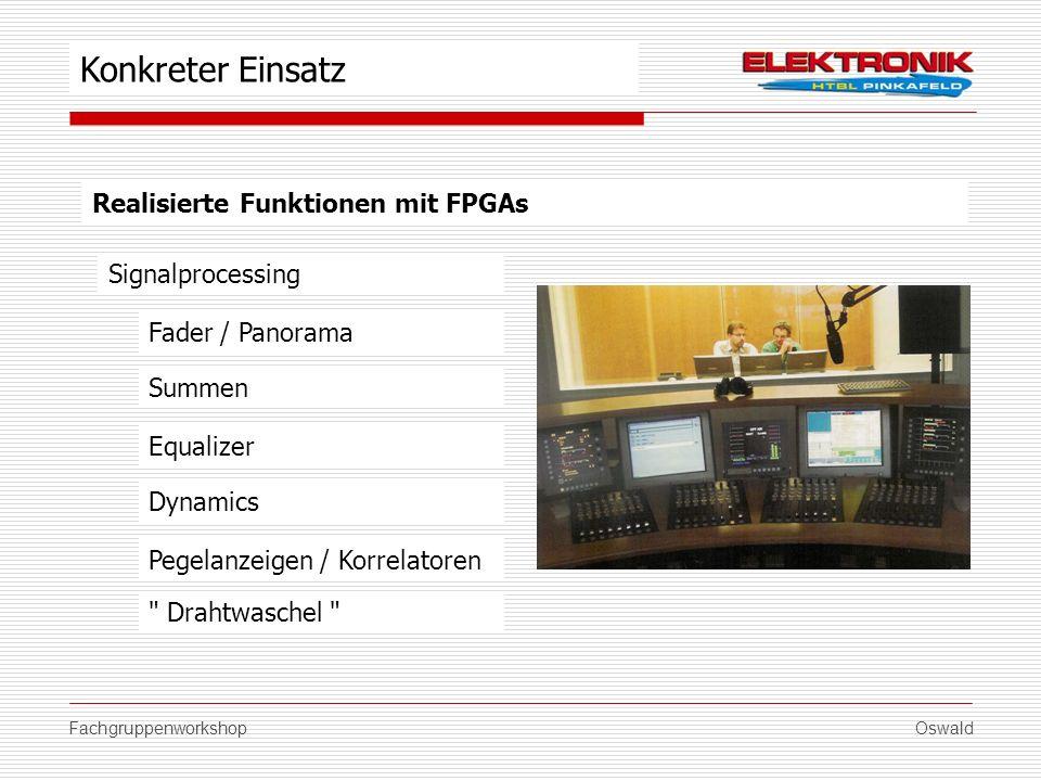 FachgruppenworkshopOswald Realisierte Funktionen mit FPGAs Signalprocessing Summen Equalizer Dynamics Konkreter Einsatz Fader / Panorama Pegelanzeigen