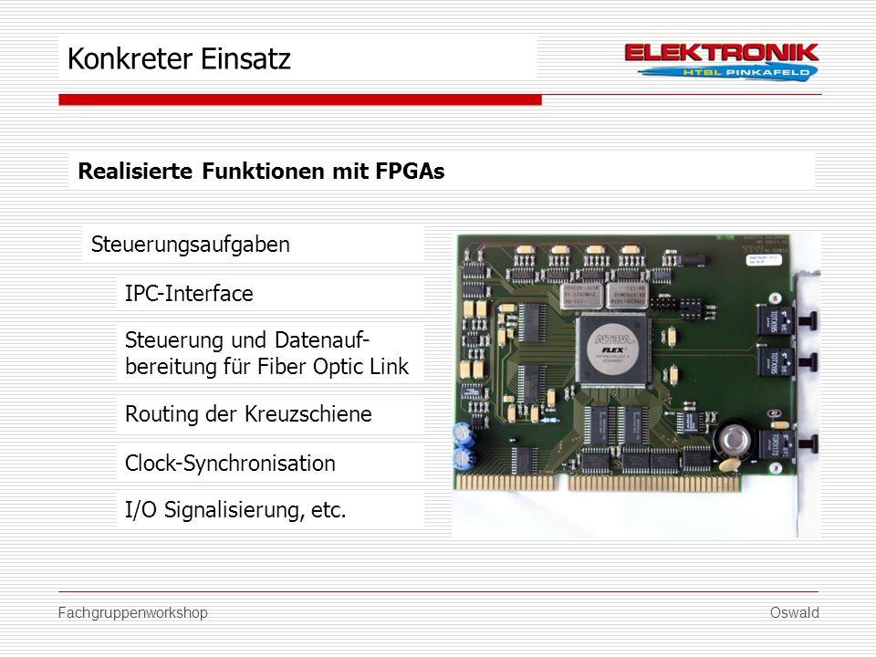 FachgruppenworkshopOswald Realisierte Funktionen mit FPGAs Steuerungsaufgaben Routing der Kreuzschiene Clock-Synchronisation I/O Signalisierung, etc.