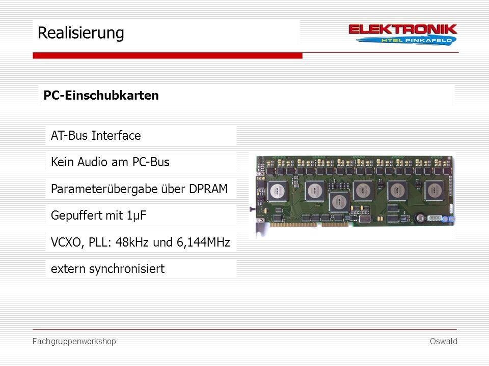 FachgruppenworkshopOswald PC-Einschubkarten AT-Bus Interface Parameterübergabe über DPRAM Gepuffert mit 1µF VCXO, PLL: 48kHz und 6,144MHz Realisierung