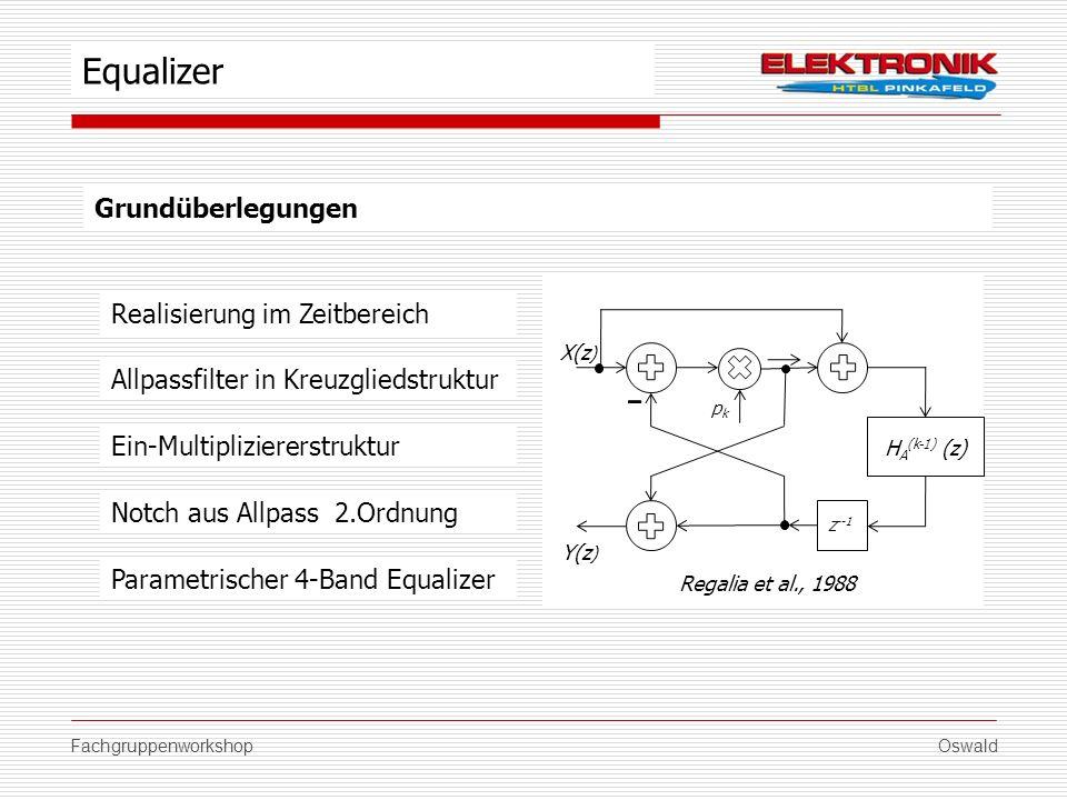 FachgruppenworkshopOswald Grundüberlegungen Allpassfilter in Kreuzgliedstruktur Notch aus Allpass 2.Ordnung Equalizer Ein-Multipliziererstruktur X(z )