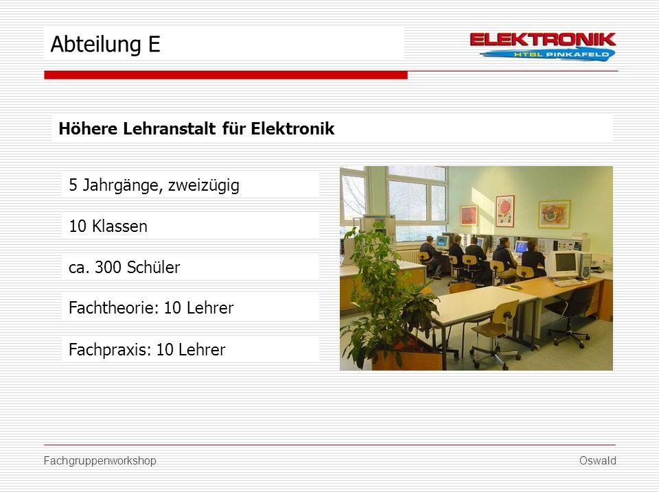 FachgruppenworkshopOswald Höhere Lehranstalt für Elektronik 5 Jahrgänge, zweizügig ca. 300 Schüler Fachtheorie: 10 Lehrer Fachpraxis: 10 Lehrer Abteil