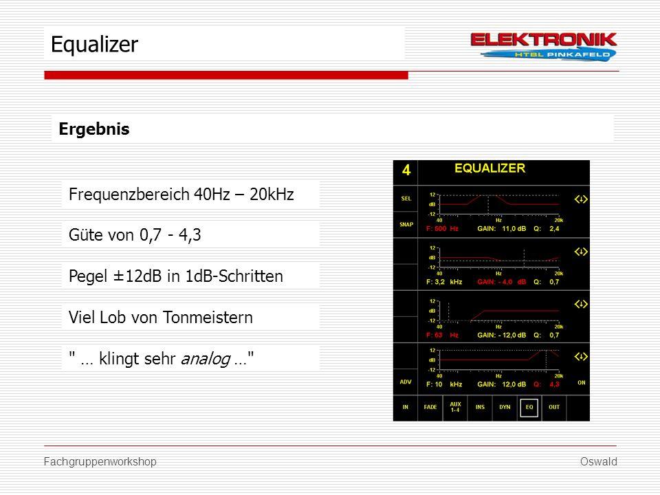 FachgruppenworkshopOswald Ergebnis Güte von 0,7 - 4,3 Viel Lob von Tonmeistern Equalizer Pegel ±12dB in 1dB-Schritten Frequenzbereich 40Hz – 20kHz
