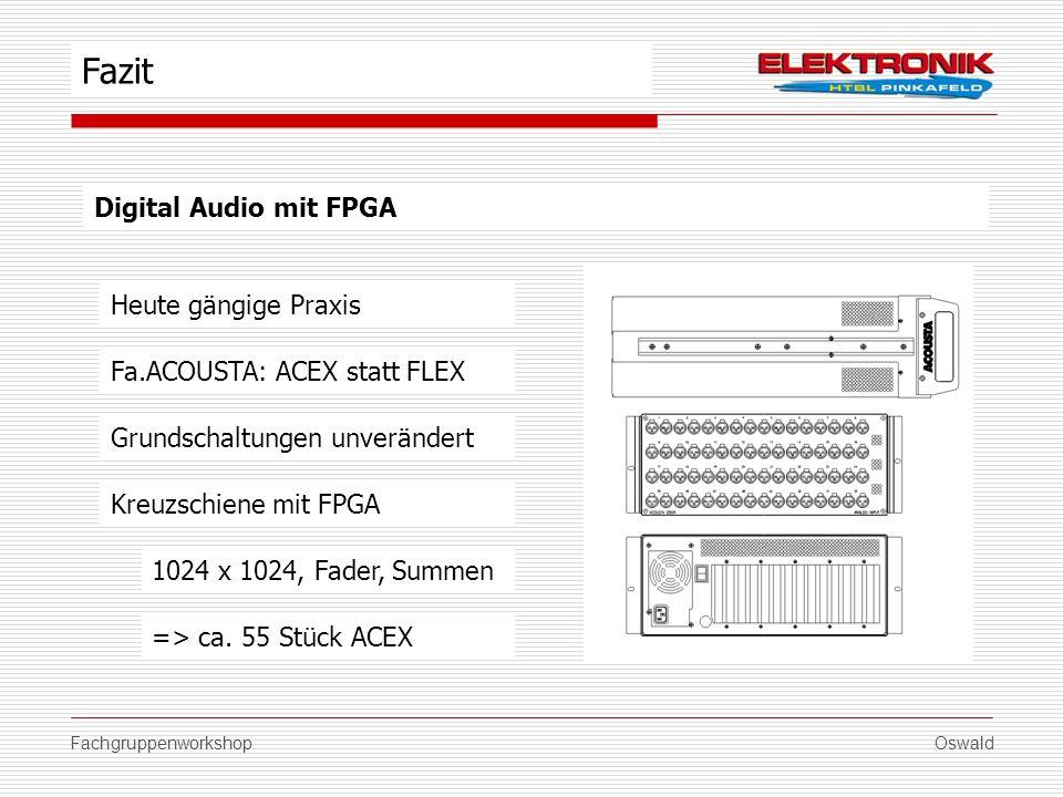 FachgruppenworkshopOswald Digital Audio mit FPGA Grundschaltungen unverändert Fazit Fa.ACOUSTA: ACEX statt FLEX Heute gängige Praxis Kreuzschiene mit