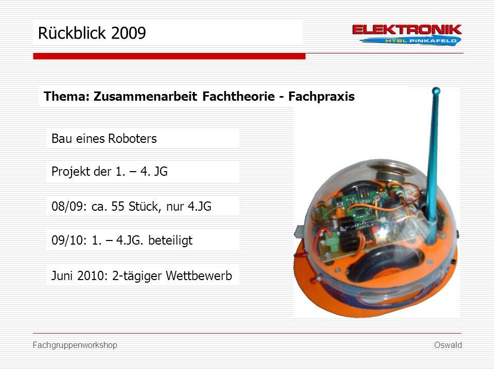 FachgruppenworkshopOswald Thema: Zusammenarbeit Fachtheorie - Fachpraxis Bau eines Roboters 08/09: ca. 55 Stück, nur 4.JG 09/10: 1. – 4.JG. beteiligt