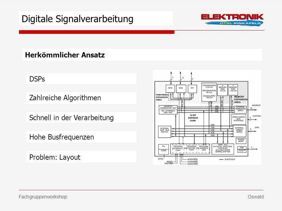 FachgruppenworkshopOswald Herkömmlicher Ansatz DSPs Schnell in der Verarbeitung Hohe Busfrequenzen Problem: Layout Digitale Signalverarbeitung Zahlrei