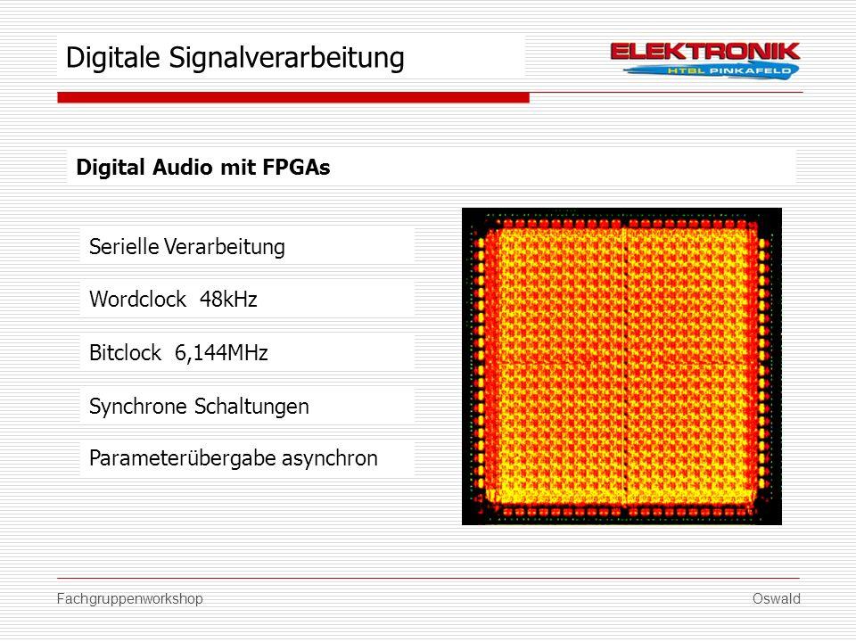 FachgruppenworkshopOswald Digital Audio mit FPGAs Wordclock 48kHz Synchrone Schaltungen Parameterübergabe asynchron Digitale Signalverarbeitung Bitclo