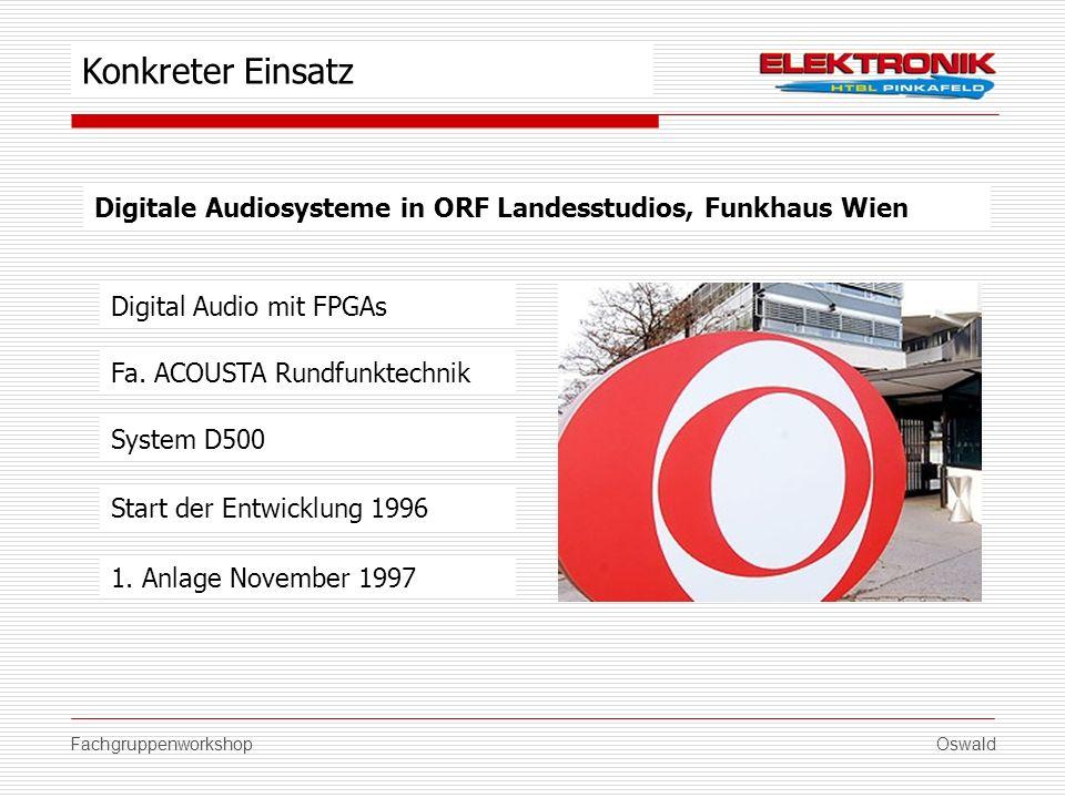 FachgruppenworkshopOswald Digitale Audiosysteme in ORF Landesstudios, Funkhaus Wien Fa. ACOUSTA Rundfunktechnik Start der Entwicklung 1996 1. Anlage N