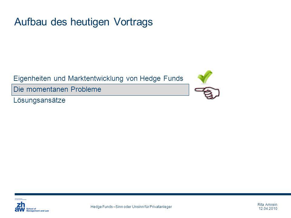 Rita Amrein 12.04.2010 Hedge Funds –Sinn oder Unsinn für Privatanleger Eigenheiten und Marktentwicklung von Hedge Funds Die momentanen Probleme Lösung