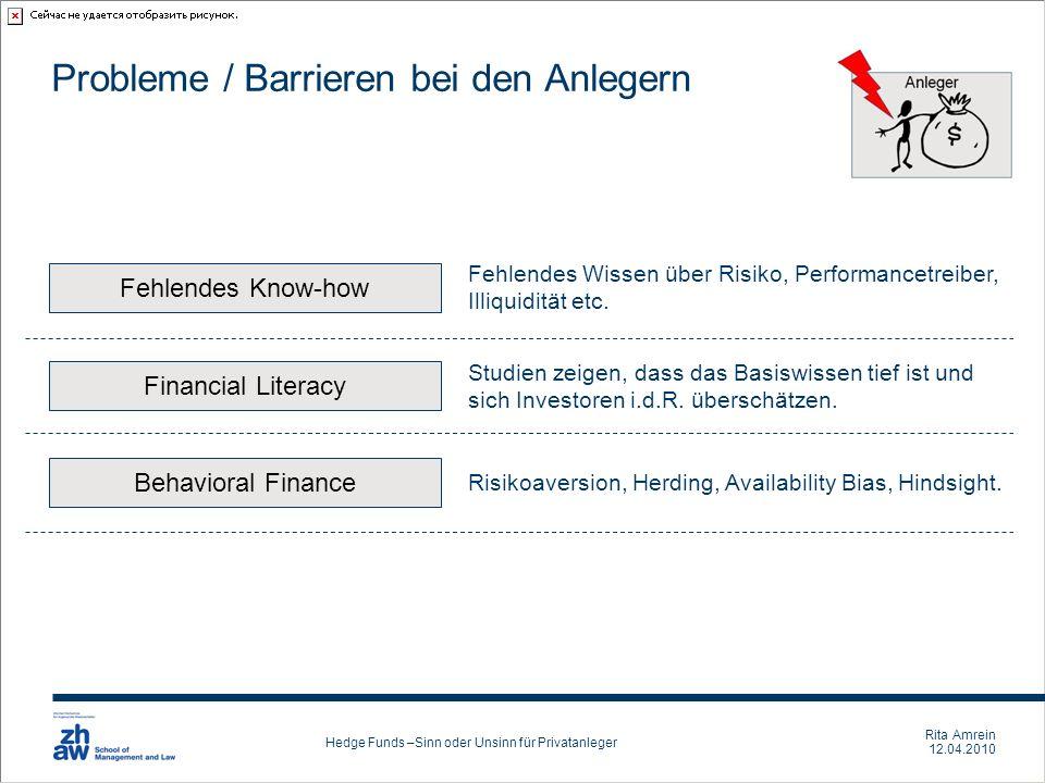 Rita Amrein 12.04.2010 Hedge Funds –Sinn oder Unsinn für Privatanleger Probleme / Barrieren bei den Anlegern Financial Literacy Studien zeigen, dass d