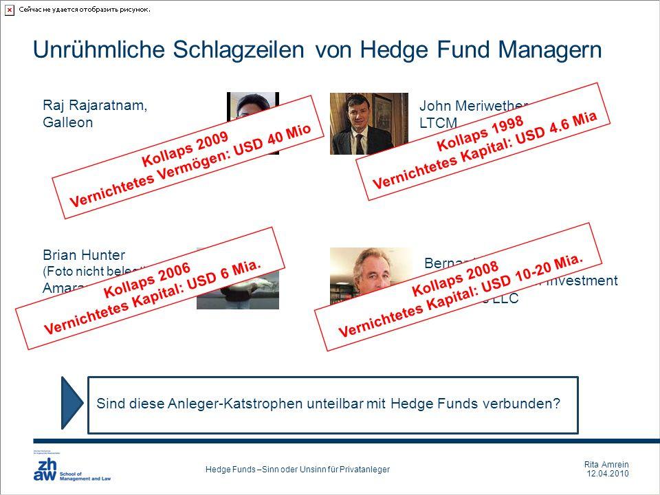 Rita Amrein 12.04.2010 Hedge Funds –Sinn oder Unsinn für Privatanleger Unrühmliche Schlagzeilen von Hedge Fund Managern Sind diese Anleger-Katstrophen
