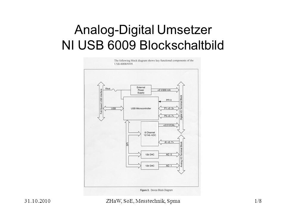 31.10.2010ZHaW, SoE, Messtechnik, Spma1/8 Analog-Digital Umsetzer NI USB 6009 Blockschaltbild