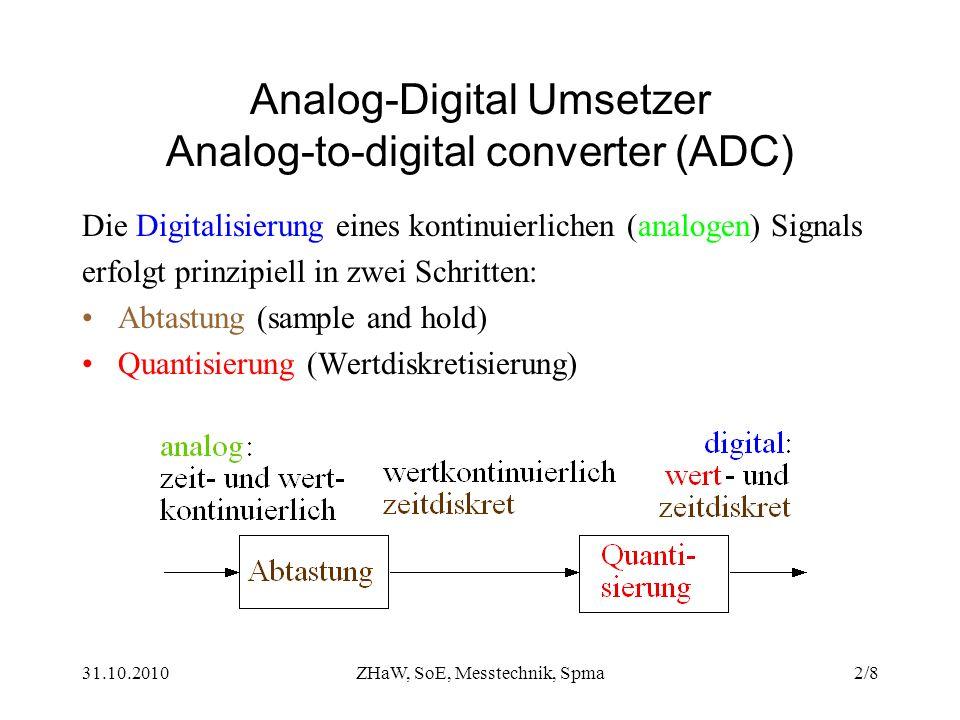 31.10.2010ZHaW, SoE, Messtechnik, Spma2/8 Analog-Digital Umsetzer Analog-to-digital converter (ADC) Die Digitalisierung eines kontinuierlichen (analog