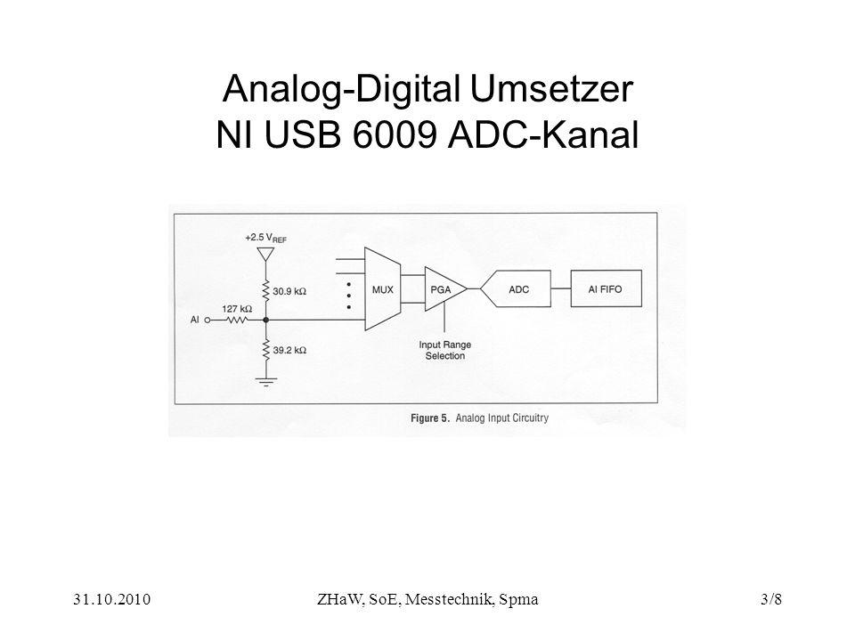 31.10.2010ZHaW, SoE, Messtechnik, Spma3/8 Analog-Digital Umsetzer NI USB 6009 ADC-Kanal