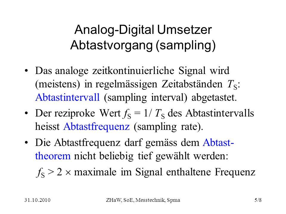 31.10.2010ZHaW, SoE, Messtechnik, Spma5/8 Analog-Digital Umsetzer Abtastvorgang (sampling) Das analoge zeitkontinuierliche Signal wird (meistens) in regelmässigen Zeitabständen T S : Abtastintervall (sampling interval) abgetastet.