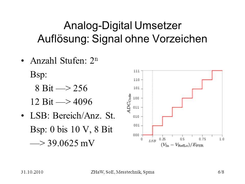 31.10.2010ZHaW, SoE, Messtechnik, Spma6/8 Analog-Digital Umsetzer Auflösung: Signal ohne Vorzeichen Anzahl Stufen: 2 n Bsp: 8 Bit ––> 256 12 Bit ––> 4096 LSB: Bereich/Anz.