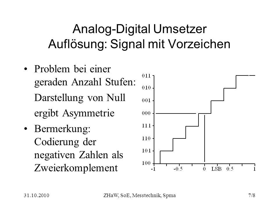 31.10.2010ZHaW, SoE, Messtechnik, Spma7/8 Analog-Digital Umsetzer Auflösung: Signal mit Vorzeichen Problem bei einer geraden Anzahl Stufen: Darstellun