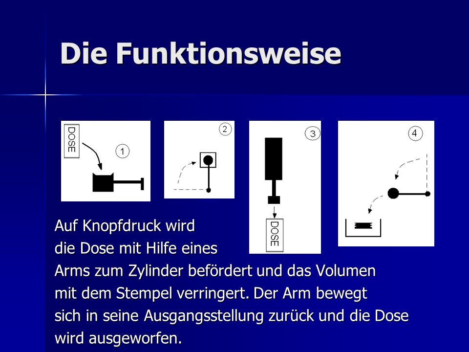 Die Funktionsweise Auf Knopfdruck wird die Dose mit Hilfe eines Arms zum Zylinder befördert und das Volumen mit dem Stempel verringert. Der Arm bewegt