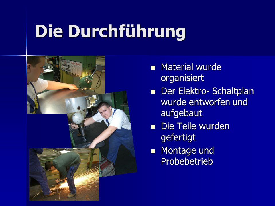 Die Durchführung Material wurde organisiert Material wurde organisiert Der Elektro- Schaltplan wurde entworfen und aufgebaut Der Elektro- Schaltplan w