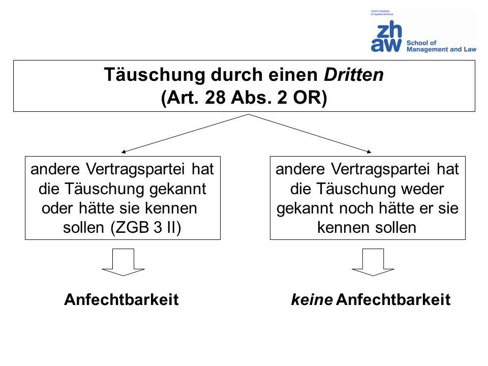 Täuschung durch einen Dritten (Art. 28 Abs. 2 OR) andere Vertragspartei hat die Täuschung gekannt oder hätte sie kennen sollen (ZGB 3 II) andere Vertr