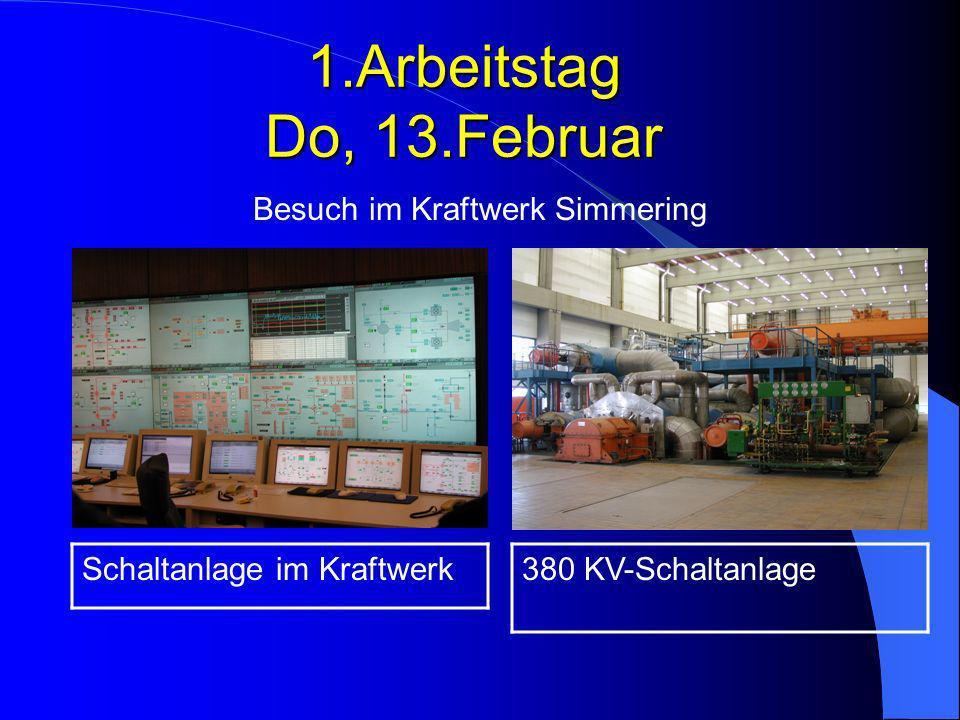 1.Arbeitstag Do, 13.Februar Besuch im Kraftwerk Simmering 380 KV-SchaltanlageSchaltanlage im Kraftwerk